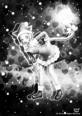 「クリスマス猫さん」01(モノクロ)