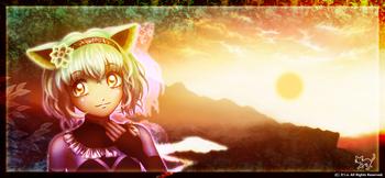 「山の風景ワイド+」01「夕焼け空と白猫さん」