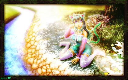 「緑猫さん2014」06「朝日を受けて」(完成_NEO絵画)+詩「朝日を受けて」.jpg